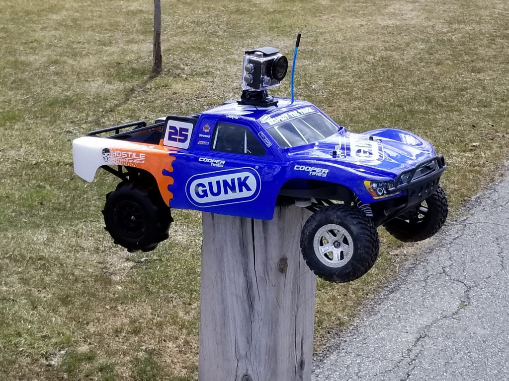 Traxxas Slash with Proline paddle tires and Akaso Brave 4 FPV action camera