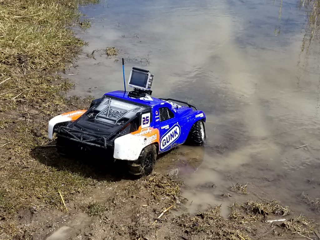 RC car going through mud